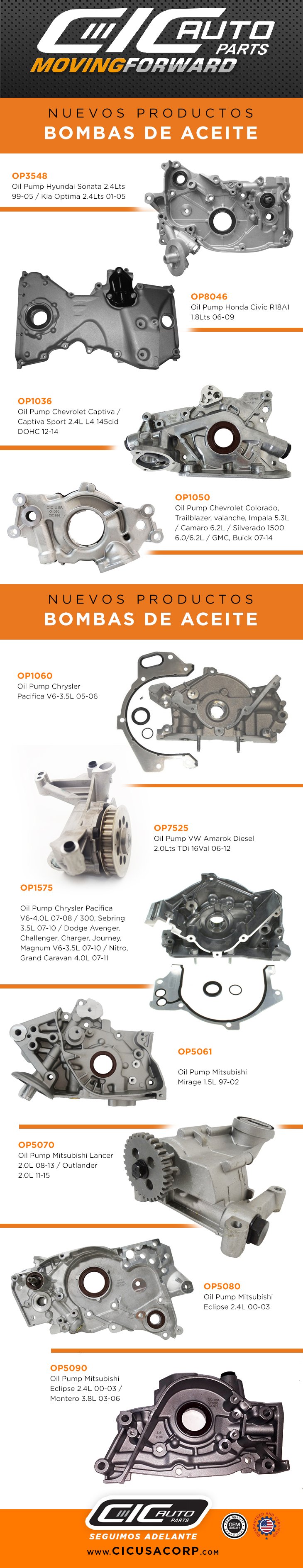 New Product • OIL PUMP March 2017 | CIC USA CORP